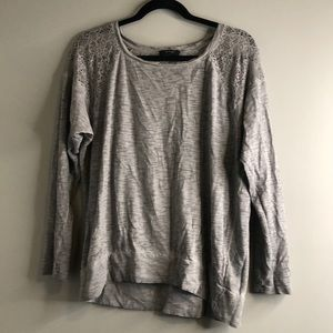 Grey top with mesh sleeves